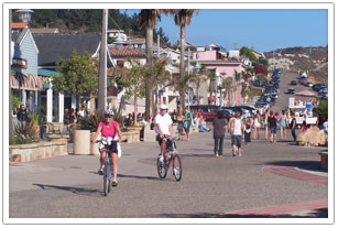 Bike riding on the Avila Beach Promenade