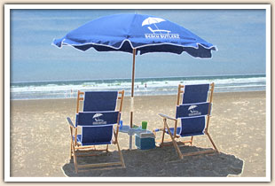Rental chairs sitting on the beach