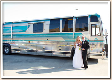 Party bus rental for a wedding
